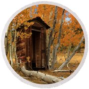 Outhouse In The Aspens Round Beach Towel by James Eddy