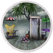 Outhouse Round Beach Towel