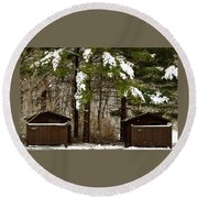Outhouses In The Cold Round Beach Towel