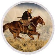 Outlaw Kelly Western Art By Kaylyn Franks Round Beach Towel