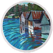 Outlet Row Of Boat Houses Round Beach Towel