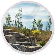 Outlook Hill, Governors Island Round Beach Towel by Sandy Taylor