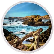 Outside Fort Bragg Round Beach Towel