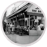 Outside Restaurant La Coupole In Montparnasse, Paris, 1959  Round Beach Towel