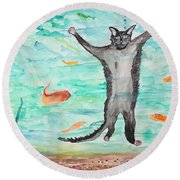 Outside The Fish Tank Round Beach Towel