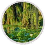 Outstanding Lotus Round Beach Towel