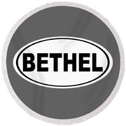 Round Beach Towel featuring the photograph Oval Bethel Connecticut Home Prid by Keith Webber Jr