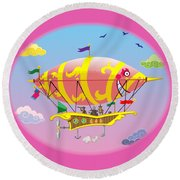 Dreamship II Round Beach Towel