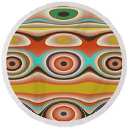 Ovals And Circles Pattern Design Round Beach Towel by Jessica Wright