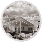 Over Heating At The Sinclair Station Sepia Round Beach Towel