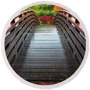 Over The Bridge To Fall Round Beach Towel
