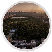 Over The City Central Park Round Beach Towel