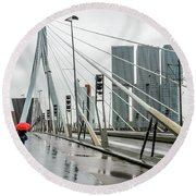 Round Beach Towel featuring the photograph Over The Erasmus Bridge In Rotterdam With Red Umbrella by RicardMN Photography