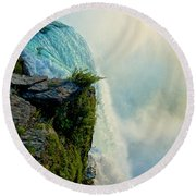 Over The Falls II Round Beach Towel