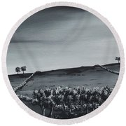 Over The Hill. Round Beach Towel