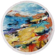 Round Beach Towel featuring the painting Over The Hills And Far Away by Elise Palmigiani