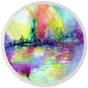 Round Beach Towel featuring the painting Over The Rainbow by Allison Ashton