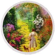 Round Beach Towel featuring the painting Over The Rainbow by Mo T