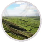 Over The Rim On Terceira Island, The Azores Round Beach Towel