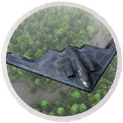 Over The River And Through The Woods In A Stealth Bomber Round Beach Towel