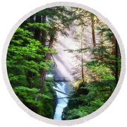 Over The River And Through The Woods Round Beach Towel