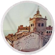 Over The Rooftops, Caceres Round Beach Towel