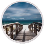 Over The Sand Round Beach Towel