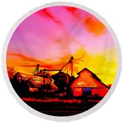 Over The Tracks --somewhere In Texas Round Beach Towel