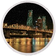 Over The Willamette Under The Stars Round Beach Towel