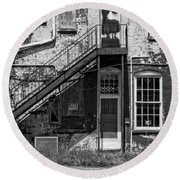 Round Beach Towel featuring the photograph Over Under The Stairs - Bw by Christopher Holmes