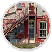 Round Beach Towel featuring the photograph Over Under The Stairs by Christopher Holmes