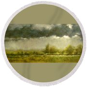 Overcast Day At The Refuge Round Beach Towel