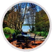 Overlook Cafe Round Beach Towel