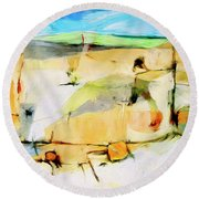 Round Beach Towel featuring the painting Overlook by Dominic Piperata