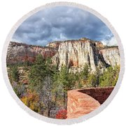 Overlook In Zion National Park Upper Plateau Round Beach Towel by John M Bailey