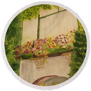 Round Beach Towel featuring the painting Overlooking Butchard Gardens  by Vicki  Housel