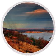 Overlooking Culvers Lake Round Beach Towel by Raymond Salani III