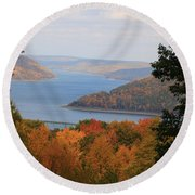 Round Beach Towel featuring the photograph Overlooking Kinzua Lake by Rick Morgan