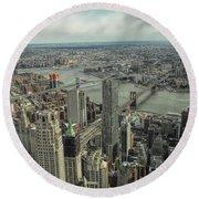 Overlooking Manhattan's East River  Round Beach Towel