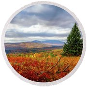 Overlooking The Foothills Round Beach Towel