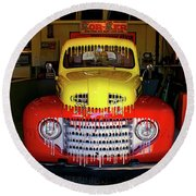 Overpainted 1950 Ford Pickup Round Beach Towel