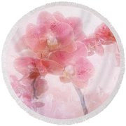 Orchid Collection 'overpainting' Round Beach Towel