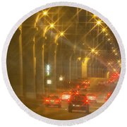Round Beach Towel featuring the photograph Overpass Traffic by Linda Phelps
