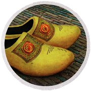 Round Beach Towel featuring the photograph Oversized Dutch Clogs by Hanny Heim
