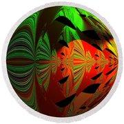 Art Green, Red, Black Round Beach Towel