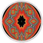 Unique And Colorful Orange Black Yellow Design Round Beach Towel by Oksana Semenchenko