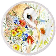 Owl And Flowers Round Beach Towel