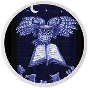 Owl And Friends Indigo Blue Round Beach Towel