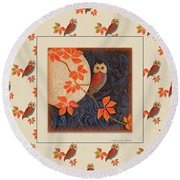 Round Beach Towel featuring the painting Owl And Moon Autumn Warmth by Nancy Lee Moran