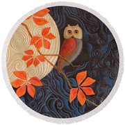 Round Beach Towel featuring the painting Owl And Moon On A Quilt by Nancy Lee Moran